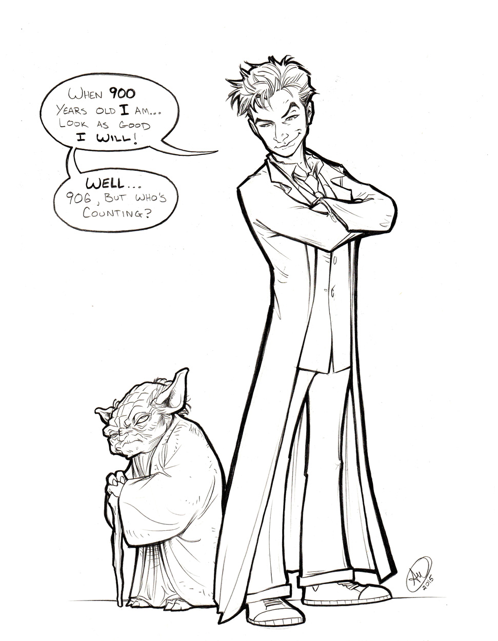 10th Doctor and Yoda by AdamWithers
