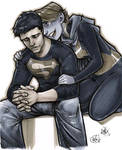 Superboy + Miss Martian by AdamWithers