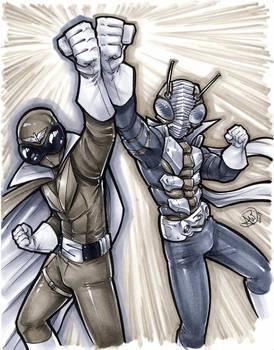 Kamen Rider and Garenger Red