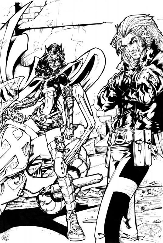Huntress and Timberwolf by AdamWithers
