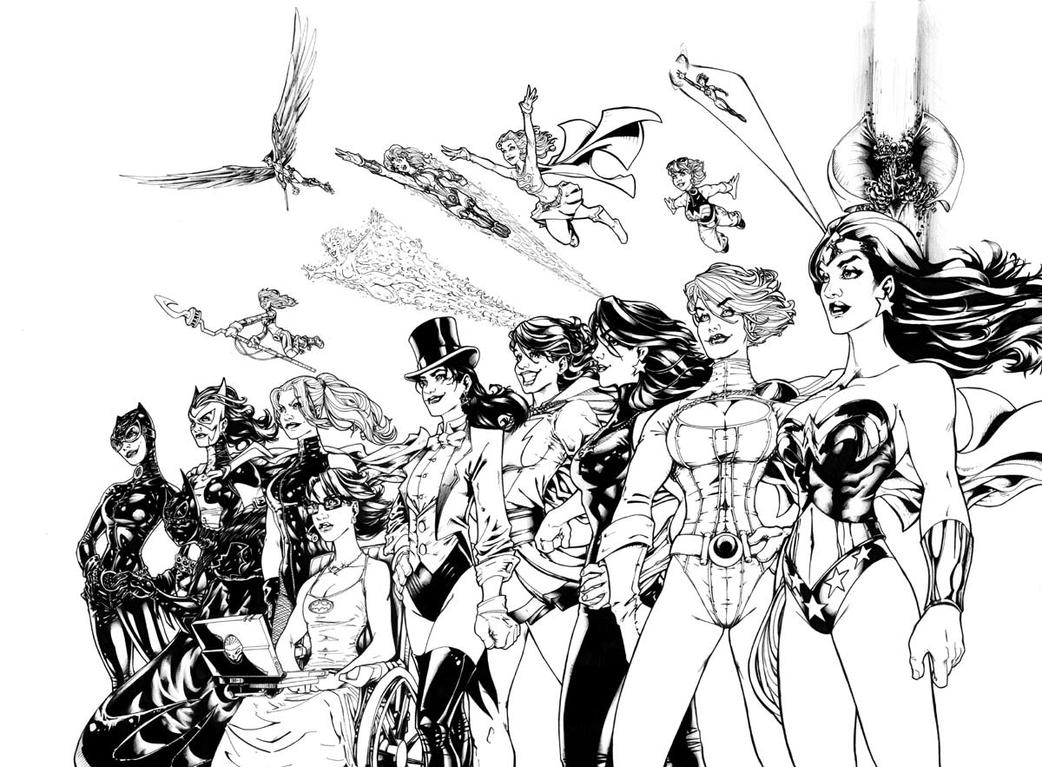 the women of dc comics  b w by adamwithers on deviantart