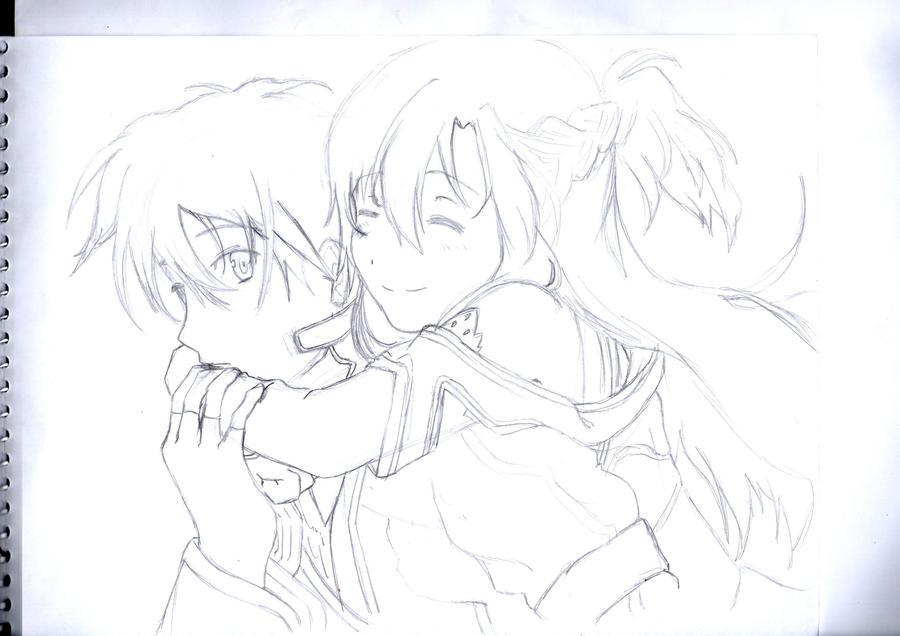 Kirito and Asuna by cak04