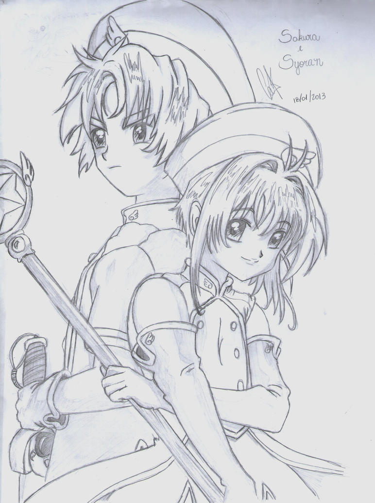 Sakura and Syaoran by cak04