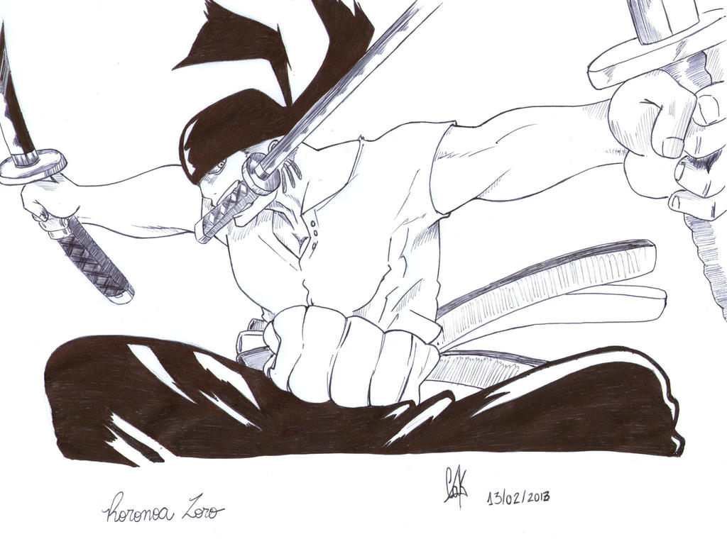 Roronoa Zoro (Ink) by cak04