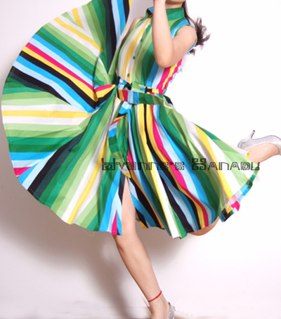 Rainbow Cotton Cute Knee Dress by yystudio