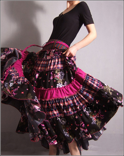 Fushia Long Pleated Full Skirt by yystudio