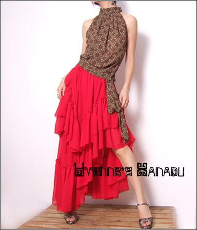 Red Chiffon Long Ruffle Skirt by yystudio
