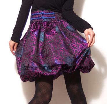 Purple Silk Satin Bubble Skirt by yystudio