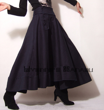 Blue Cotton Full Long Skirt by yystudio
