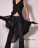 Black Sheer Chiffon Long Dress by yystudio