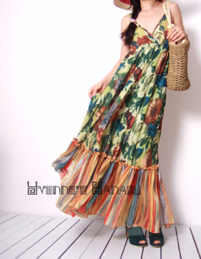 Green Floral Chiffon MaxiDress by yystudio
