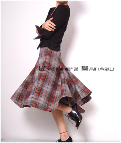 Wool Tartan Winter Warm Skirt2 by yystudio