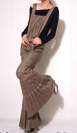 Brown Wool Wide Leg Jumpsuit 2 by yystudio