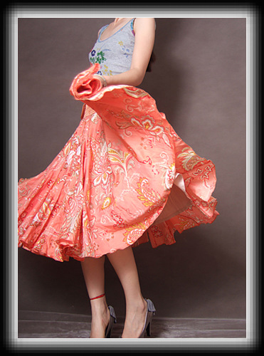Orange Silk Cotton Full Skirt3 by yystudio