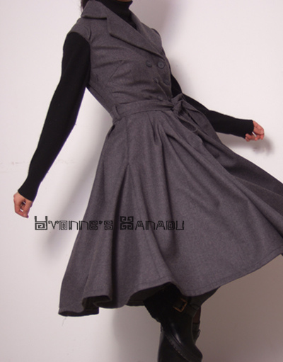 Elegant Grey Wool Dress 1 by yystudio