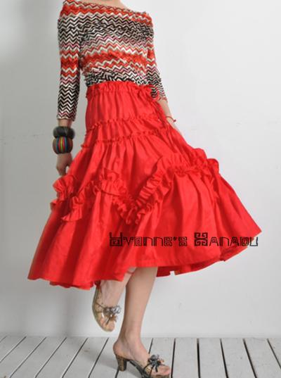 Red Jacquard 50s Full Skirt 3 by yystudio