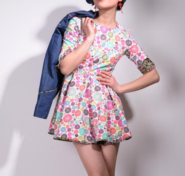 Floral High Waist Cute Dress 2 by yystudio