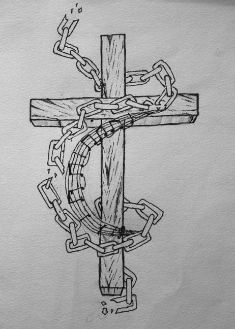 Broken chains cross