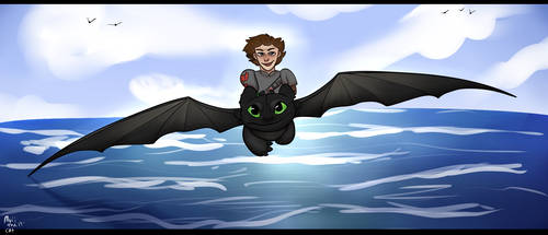 Toothless And Hiccup On The Water by MuiiTheCat