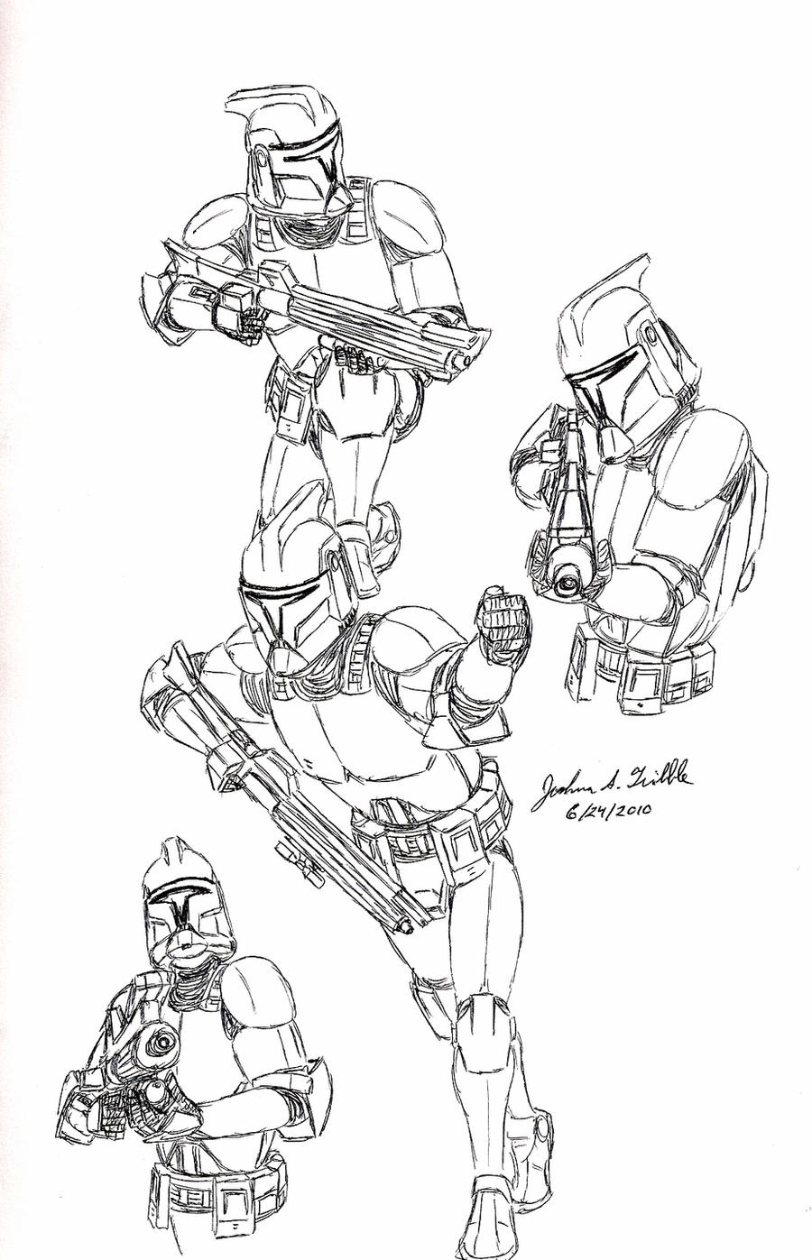 clone trooper pose sketches 2 by tribble industries on deviantart