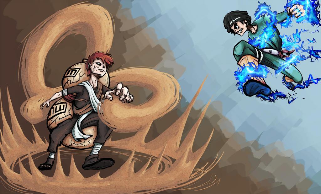 Gaara vs Rock Lee by piskomil on DeviantArt Gaara And Rock Lee