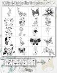 20 Floral Butterflies Transfers