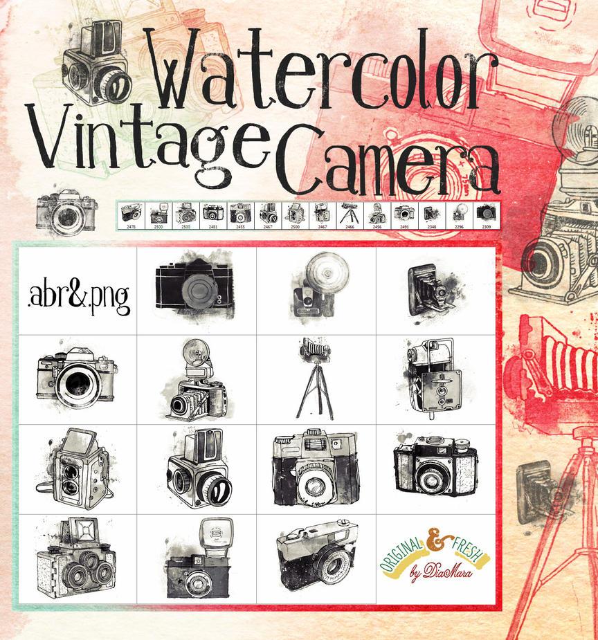 Watercolor Vintage Camera by Diamara