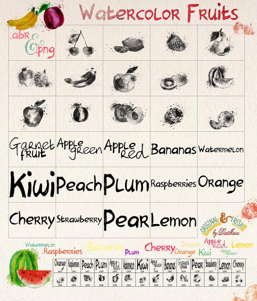 Watercolor Fruits by Diamara