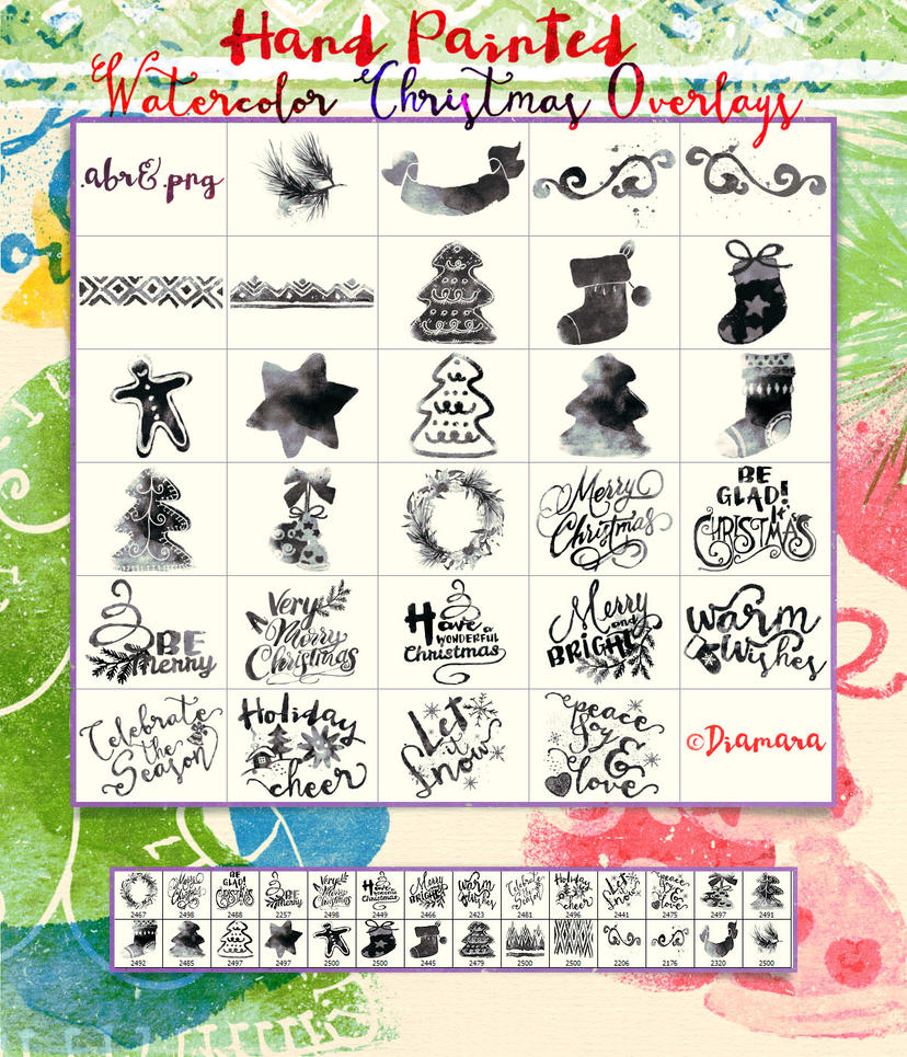 Watercolor Christmas Overlays by Diamara