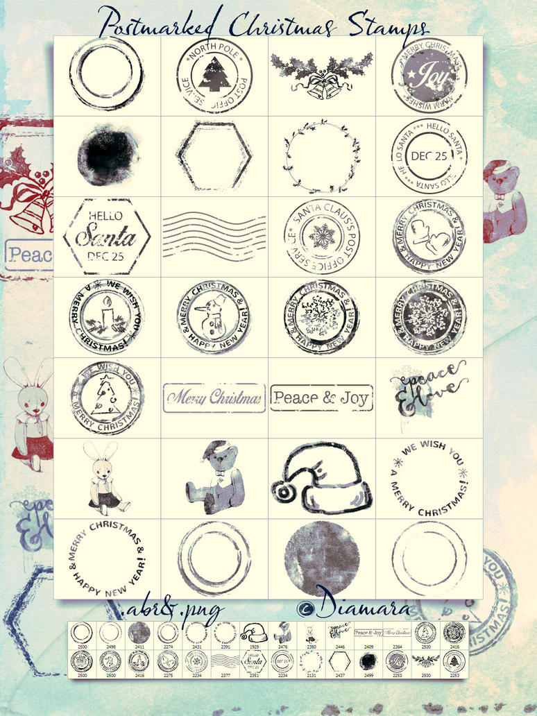 Postmarked Christmas Stamps by Diamara