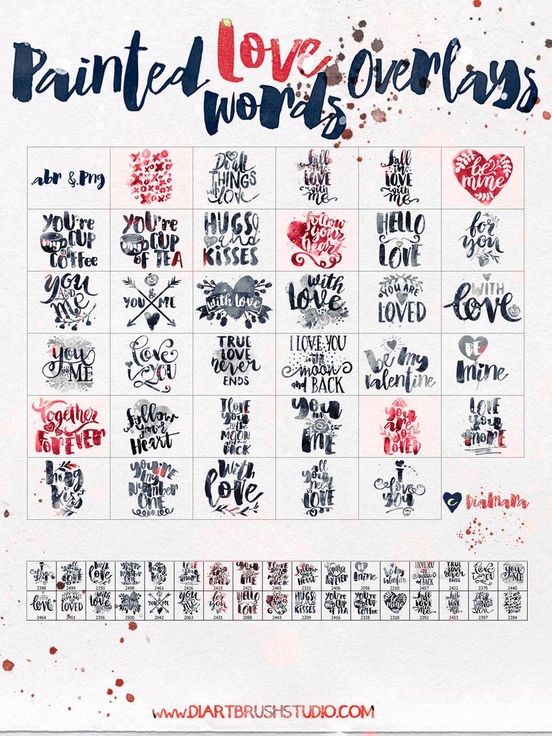 Painted LoveWords Overlays by Diamara