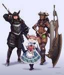 Commission- MHW: Hunters couple and Palico