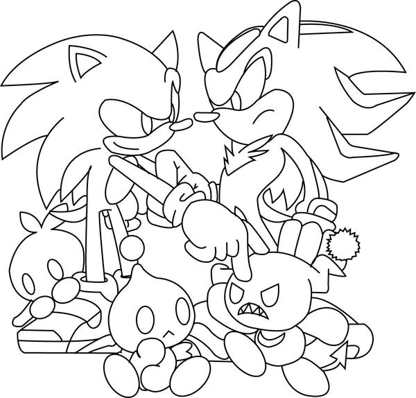 Sonic and Shadow lineart by lineartdrawer on DeviantArt