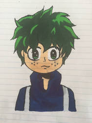 Izuku Midoriya (outlined and colored) by AnimeLover917