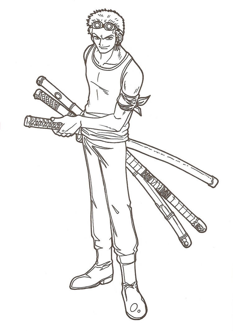 Roronoa zoro lineart by magellanjacobs on deviantart for Zoro coloring pages