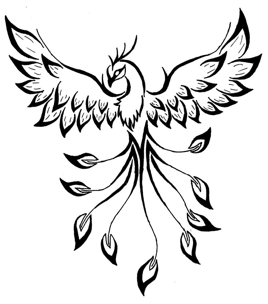 Simple Phoenix Tattoo Designs Sketch Coloring Page