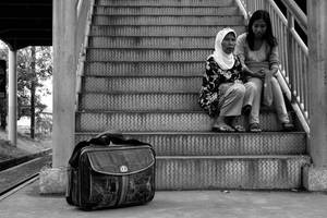 Suitcase and Two Lady by vemano88