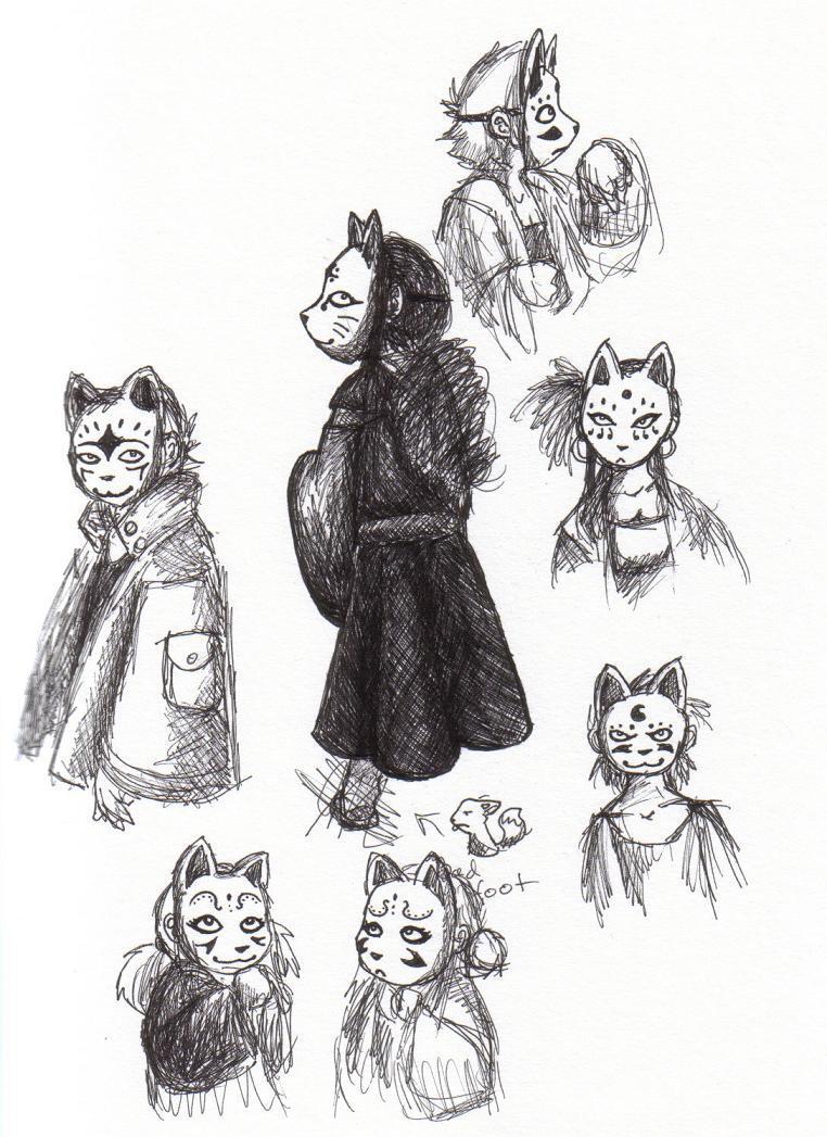 Kakurenbo masks 2 by Hyperpsychodork