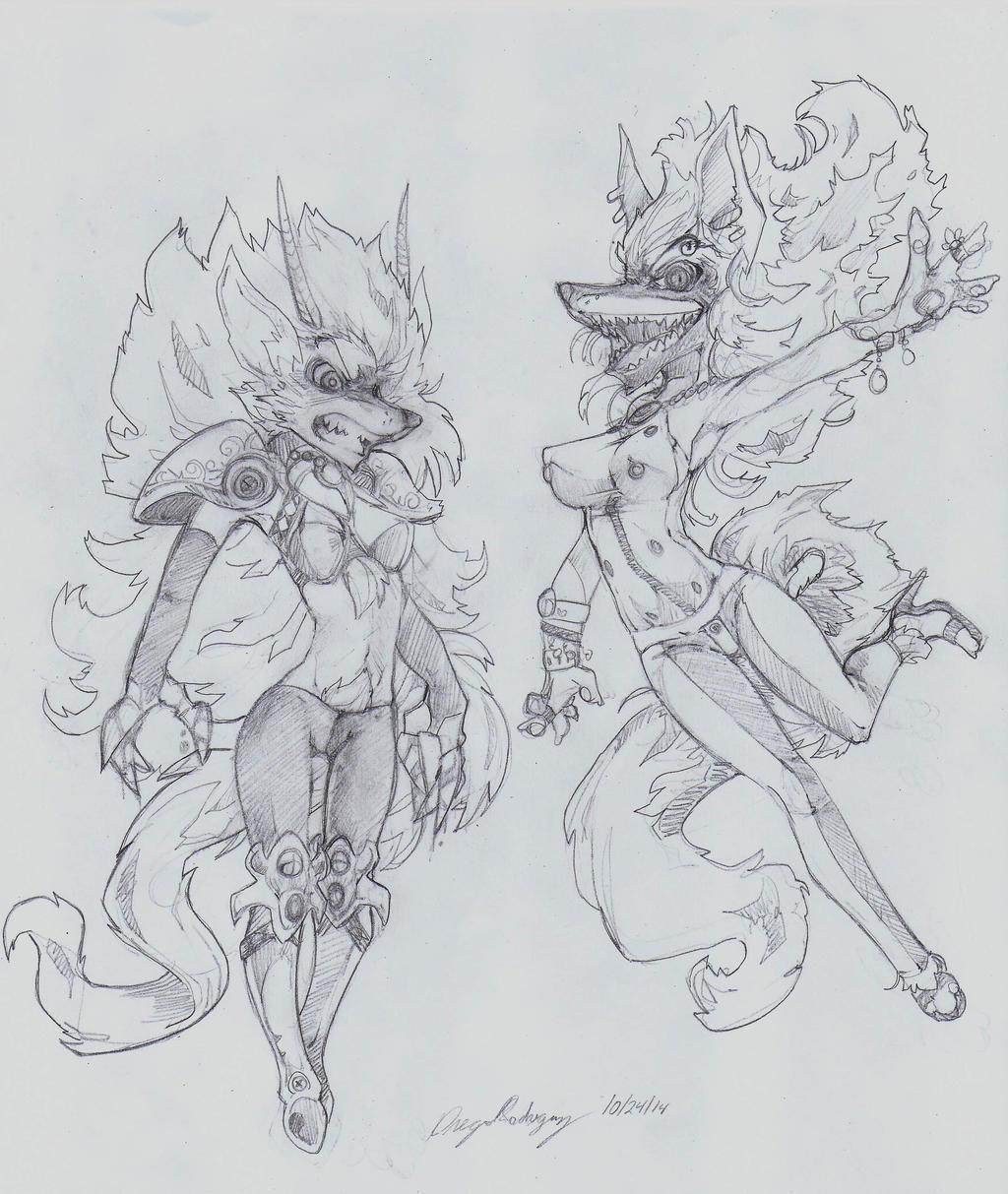 OC -  Ronelle (Left) Pandora (Right) by snoop19922002