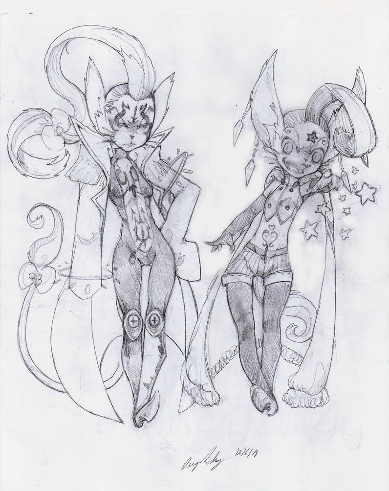 OC - Hoshiko (Left) Xaviera (Right) by snoop19922002