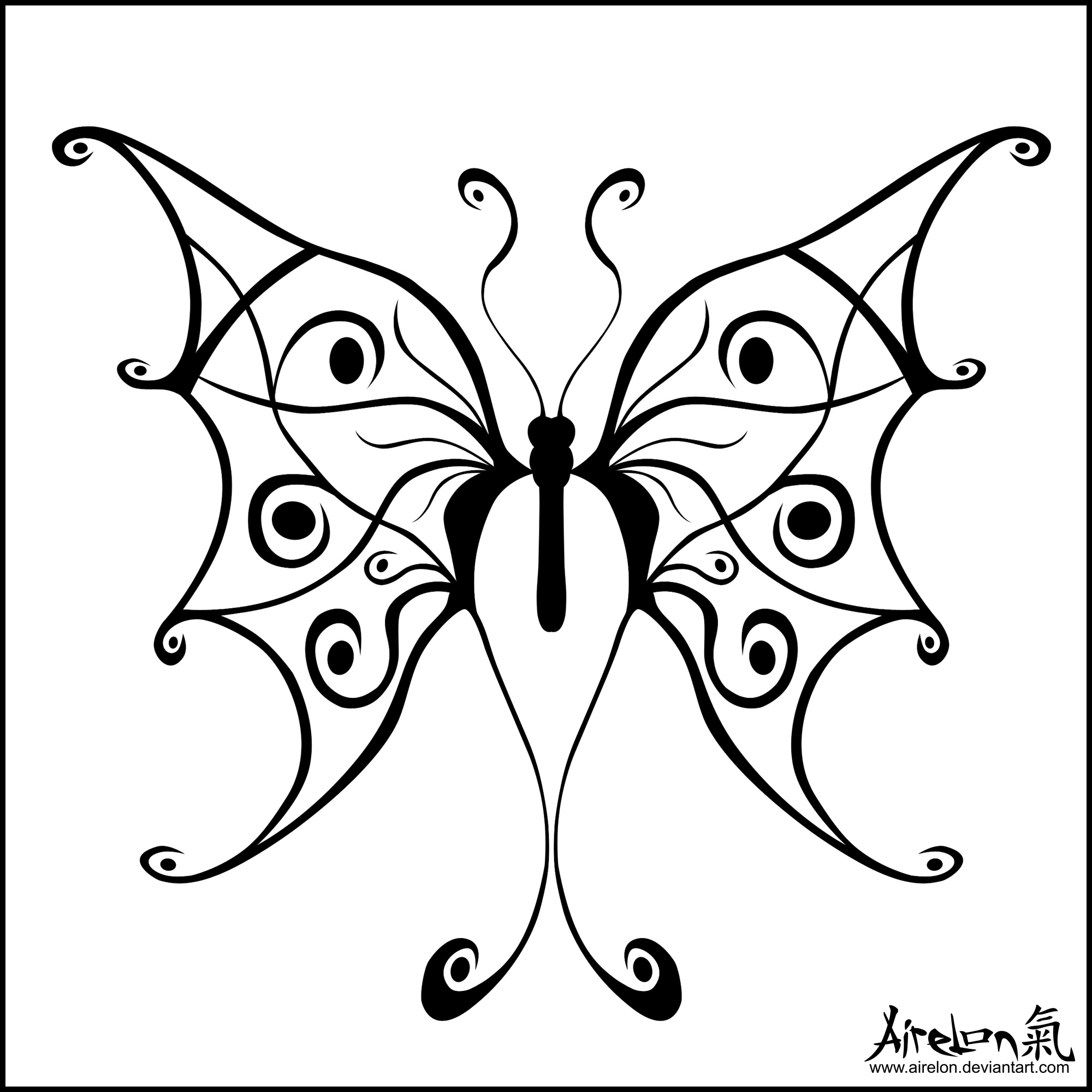 tribal butterfly drawings - HD2000×2000