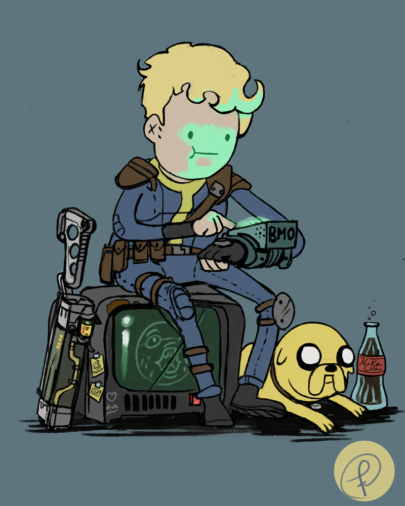a vault boy and his dog by fernand0fc on deviantart