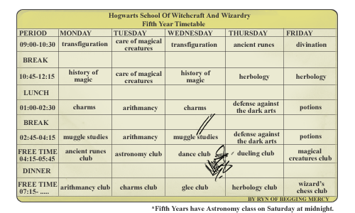 Hogwarts timetable template by Tachytelic on DeviantArt