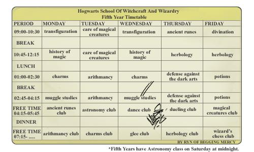 Hogwarts timetable template by Tachytelic on DeviantArt