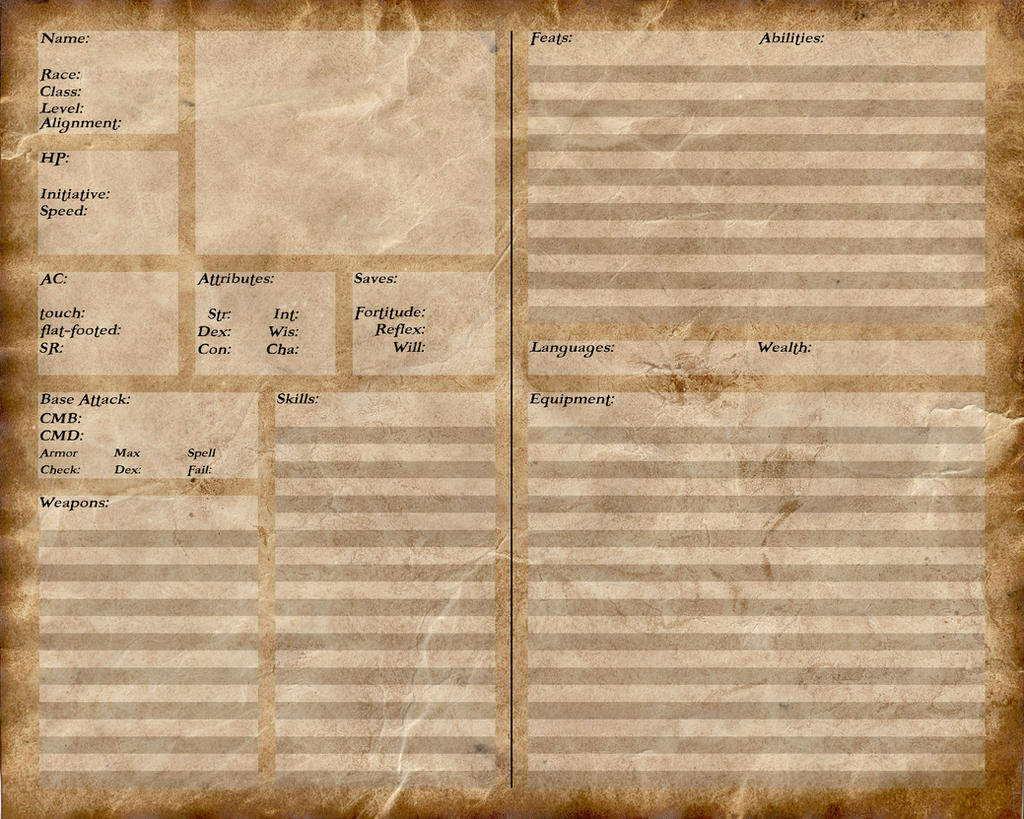 Pathfinder character sheet editable