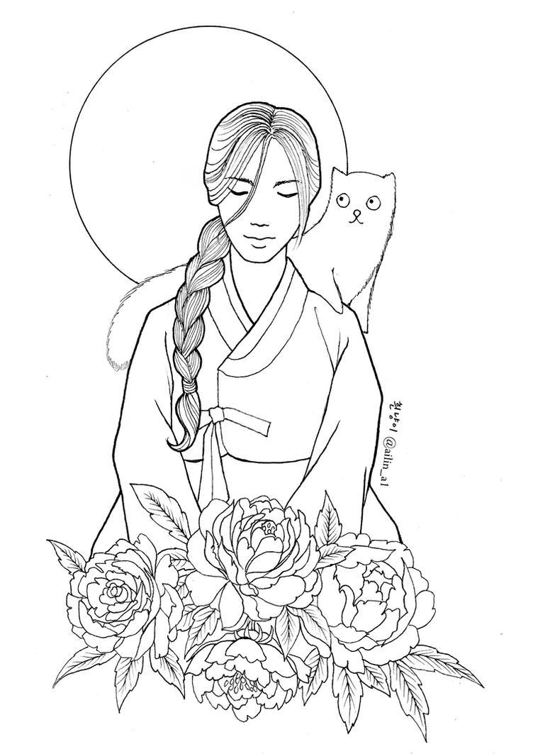 Line Art Kpop : Korean hanbok coloring page sketch
