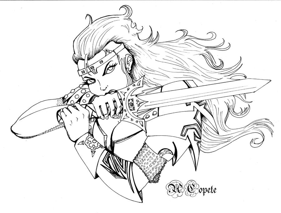 Line Art Queen : Warrior queen by alexudeg on deviantart