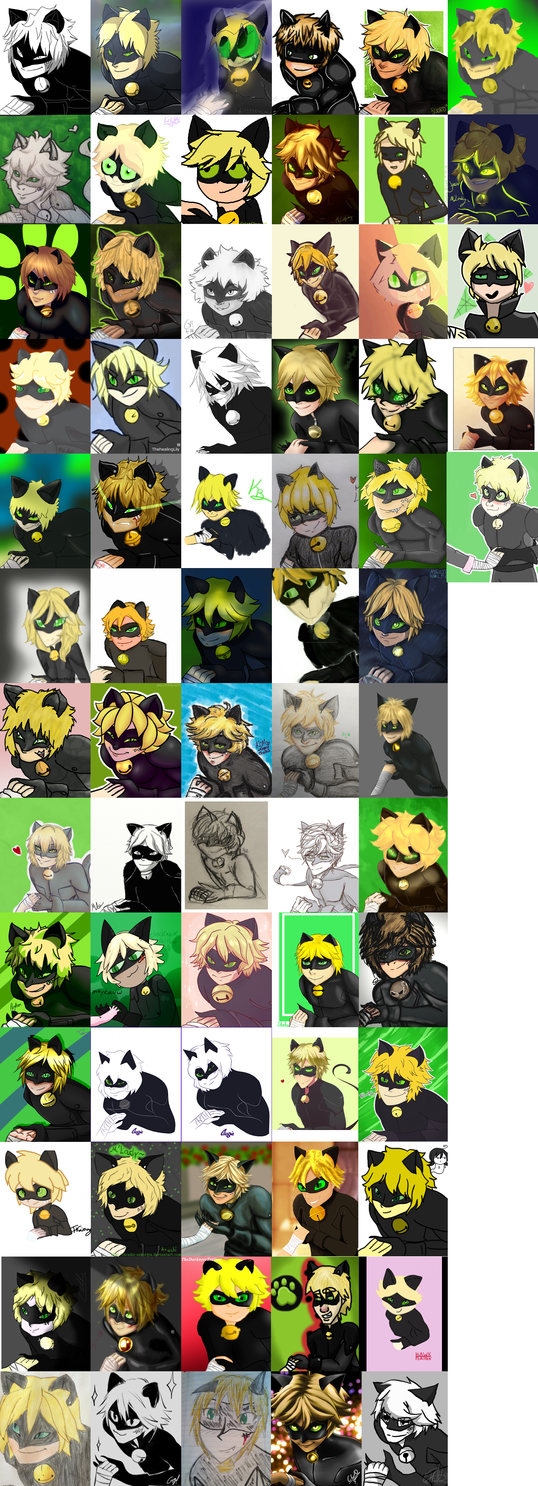 Chat Noir Grin Collage CHALLENGE! by Ipku