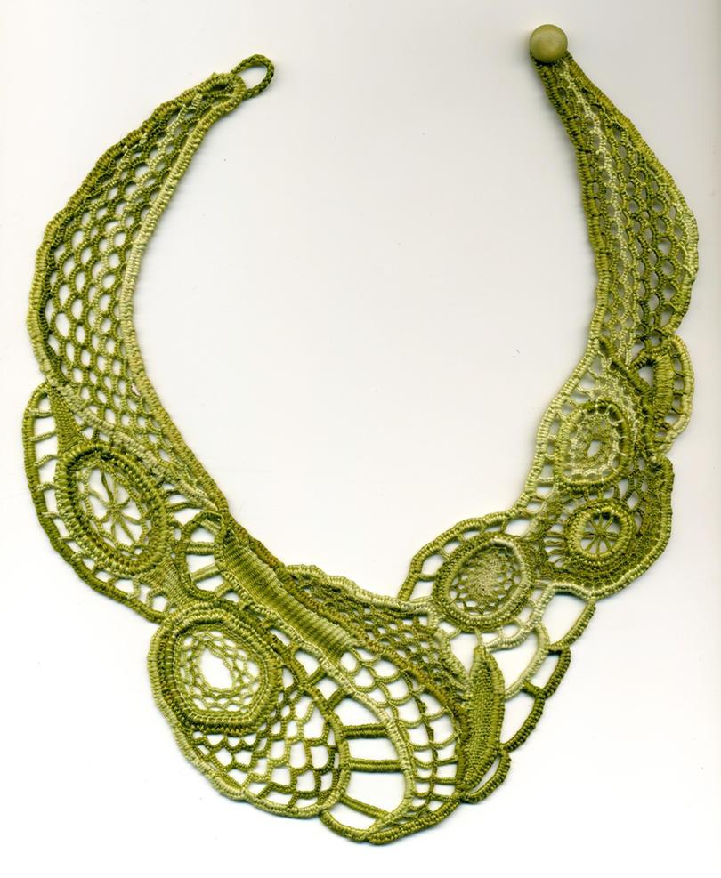 Irish Filigree Crochet Necklace Free Pattern : Green Needle Lace Necklace by Wabbit-t3h on DeviantArt