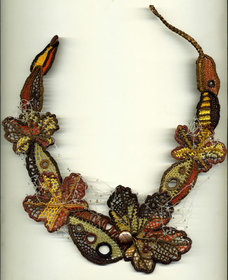 Autumn Needle Lace Necklace by Wabbit-t3h